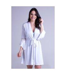 robe roupão hobby boyou amarrar pijama dormir lingerie 241 branco