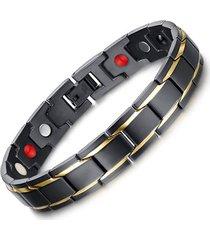 pulsera magnetica acero inoxidable 316l doble linea dorada - negro mate