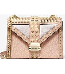 mk borsa a spalla whitney grande convertibile in pelle decorata con stelle e logo - ballet (rosa) - michael kors