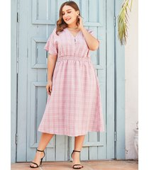 plus talla rosa botón diseño mangas cortas con cuello en v a cuadros vestido