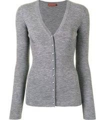 altuzarra elodie fine-ribbed cardigan - grey