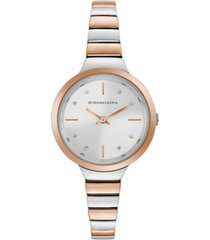 bcbgmaxazria ladies two tone rose goldtone bracelet watch with silver dial, 34mm