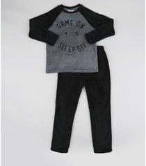 pijama de fleece game manga longa preto