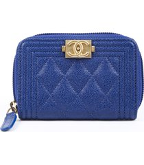 chanel boy coin pouch wallet blue quilted caviar leather cc blue/logo sz: m
