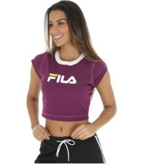 blusa cropped fila pia - feminina - roxo/branco