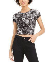 bar iii printed crew-neck crop top, created for macy's