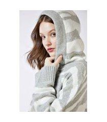 casaco tricot jacquard com zíper e capuz jacquard tigre