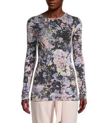 bcbgmaxazria women's moody floral-print top - size s