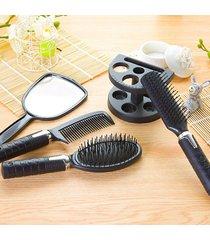 eh peine de pelo de salón de plástico y espejo conjunto cepillo de pelo masaje titular peine de espejo  - negro
