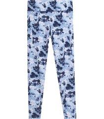 leggings sport flores hojas lilas color azul, talla l
