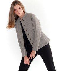 chaqueta para mujer a cuadros blanco con negro, manga larga color-multicolor-talla-xl