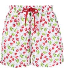 gcds cherry-print swim shorts - white