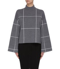 double face check mock neck crop sweater