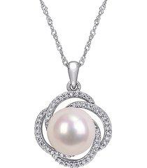 saks fifth avenue women's 14k white gold, 10-10.5mm white freshwater pearl & diamond swirl pendant necklace