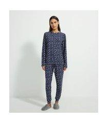 pijama blusa manga longa e calça com estampa floral toque suave | lov | azul | gg