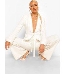 getailleerde blazer met kant en strik, white
