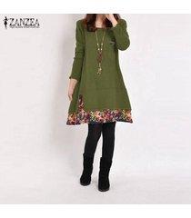 zanzea primavera algodón de las mujeres de lino vestido de otoño de la vendimia vestido hem tamaño de impresión casual o cuello de manga larga del traje del vestido vestidos plus verde -verde