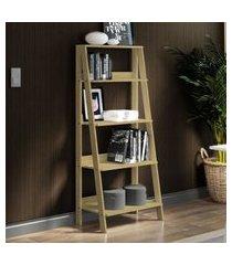 estante escada para livros com 4 prateleiras madesa - carvalho marrom