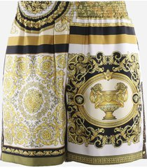 versace silk shorts with baroque & animalier all over print