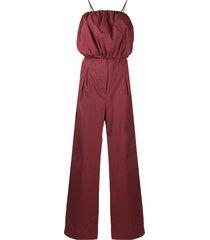 brunello cucinelli puff cotton jumpsuit - red
