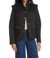 women's frame quilted town jacket, size xx-small - black