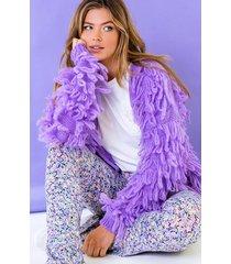 oversized knitted fringe vest purple