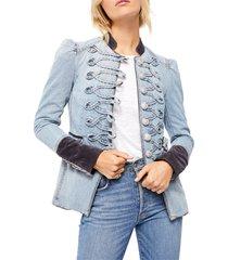 women's free people seamed & structured denim military jacket, size medium - blue