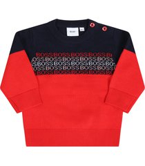 hugo boss multicolor sweater for babyboy with logos
