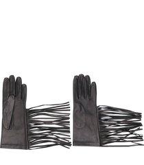 manokhi textured style fringed edge gloves - black