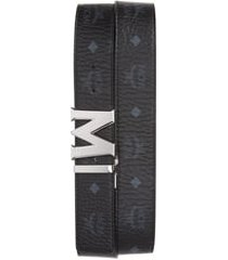 men's mcm reversible signature leather belt, size one size - black