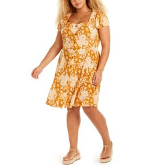 band of gypsies trendy plus size floral-print a-line dress