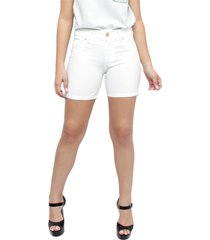 bermuda young style jeans meia coxa sarja colors branca