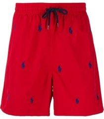 polo ralph lauren short de natação com logo - vermelho
