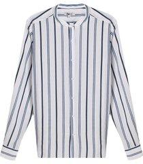 camisa a rayas cuello mao color azul, tallal