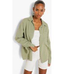 oversized blouse met textuur, sage