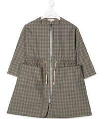 caramel paddington checked dress - grey