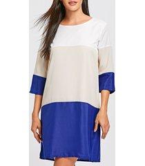 casual scoop neck color block 3/4 sleeve women's dress