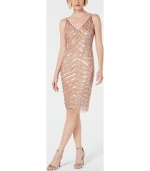 adrianna papell hand-beaded sheath dress