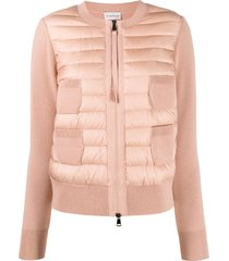 moncler padded collarless cardigan - pink