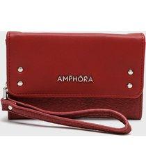 billetera mediana con cierre exterior ainoa rojo amphora