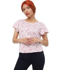 camiseta mujer m/c rosas color blanco, talla m