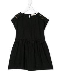 andorine stud-embellished linen dress - black