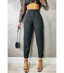 geweven getailleerde pantalons met knopen, zwart