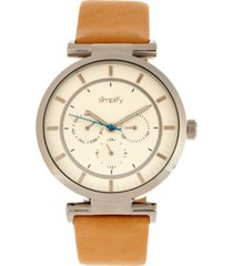simplify quartz the 4800 white dial, genuine khaki leather watch 44mm