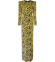 alex perry velvet touch side split maxi dress - yellow
