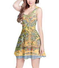 disneyland vintage map sleeveless dress