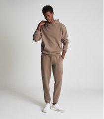 reiss alexander - oversized garment dye hoodie in taupe, mens, size xxl
