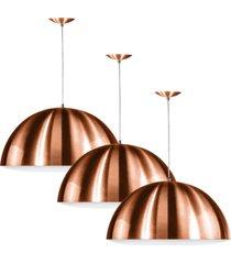 kit 3 lustre pendente meia lua 30cm de alumãnio new cobre - cobre - dafiti