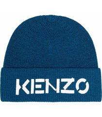 kenzo blue wool hat with logo