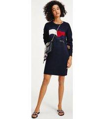 tommy hilfiger women's organic cotton motion flag dress desert sky - xxs